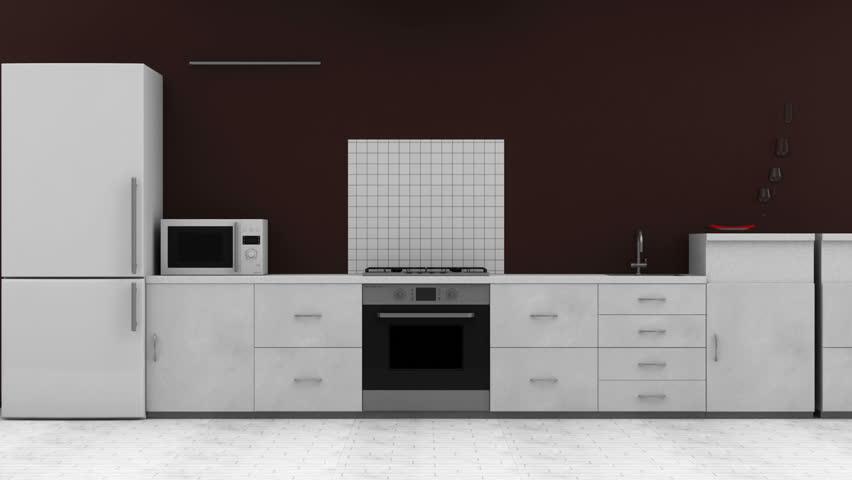 Animation of Modern Kitchen 3D Interior. HQ Video Clip
