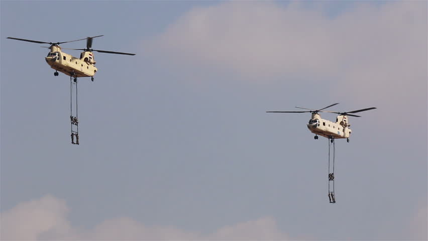 Cairo. Egypt. 6 October 2014. Two helicopters CH-47 Chinook at the airshow in Cairo. Egypt