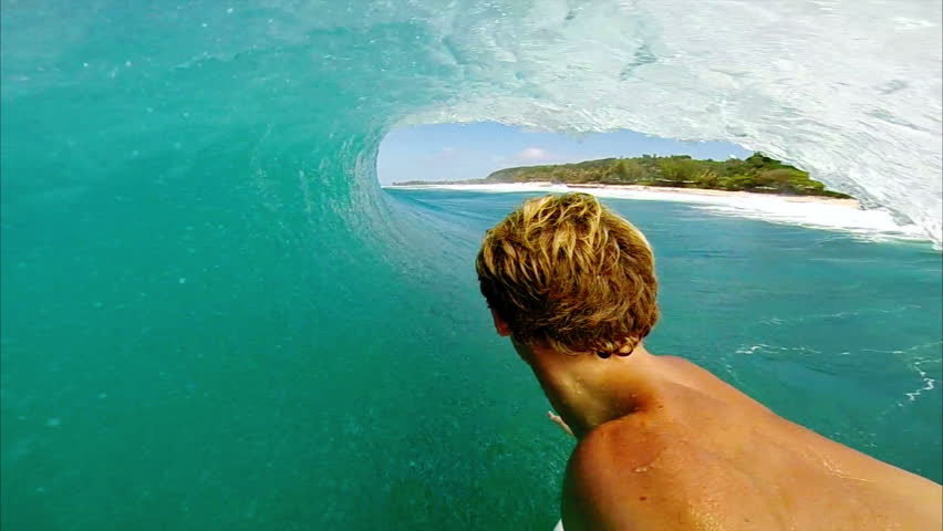POV Man Surfing Ocean Wave, Extreme Sport HD