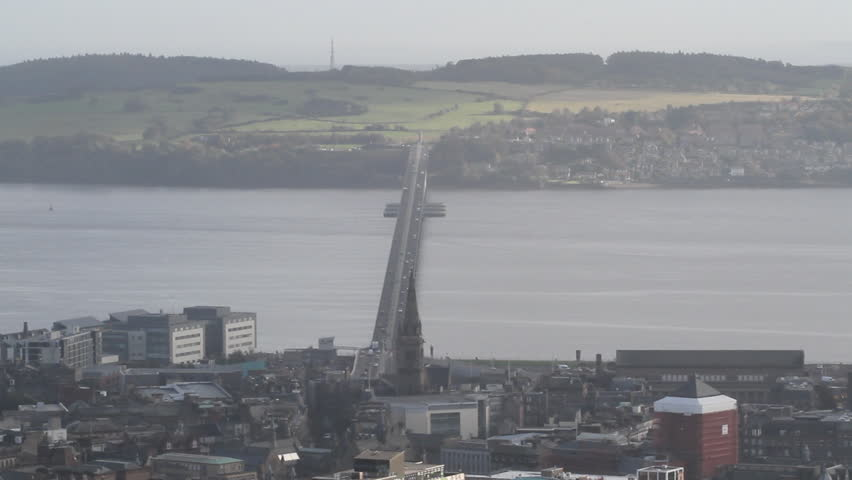 Timelapse of traffic on Tay Road Bridge from Dundee Law Scotland - HD stock video clip