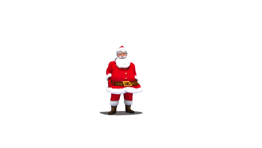 Santa throws snowball into camera against white, transition, with alpha full hd version