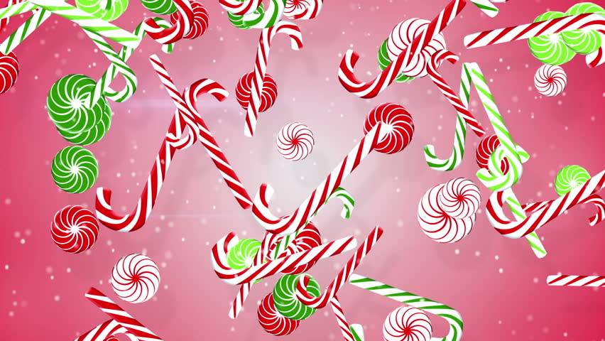christmas candy canes. computer generated seamless loop abstract motion background