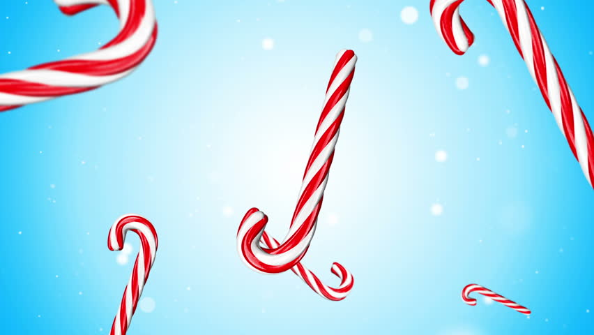Rotation and falling Christmas and New Year Candy Cane on colorfull background with shine and glow particles. Loop animation