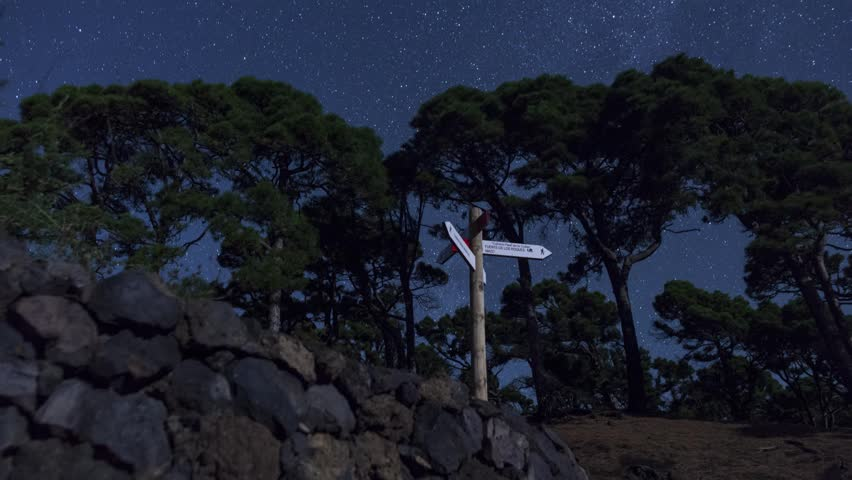 Stars and Signs at Night on La Palma, Canary Islands, Spain.  Timelapse footage with dolly movement.