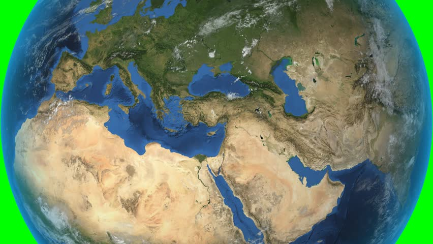 Greece. 3d earth in space - zoom in on Greece contoured on green. Elements of this image furnished by NASA