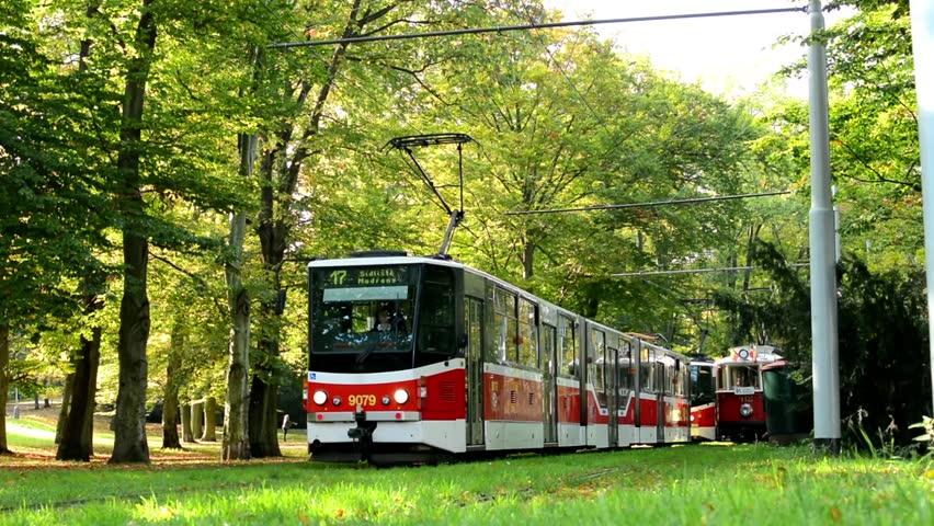 prague czech republic october 18 2014 trams in depot station tram leaves park forest. Black Bedroom Furniture Sets. Home Design Ideas