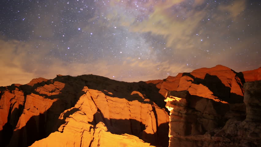 Milky Way Galaxy 84 L Timelapse Mojave Desert Red Rock Canyon