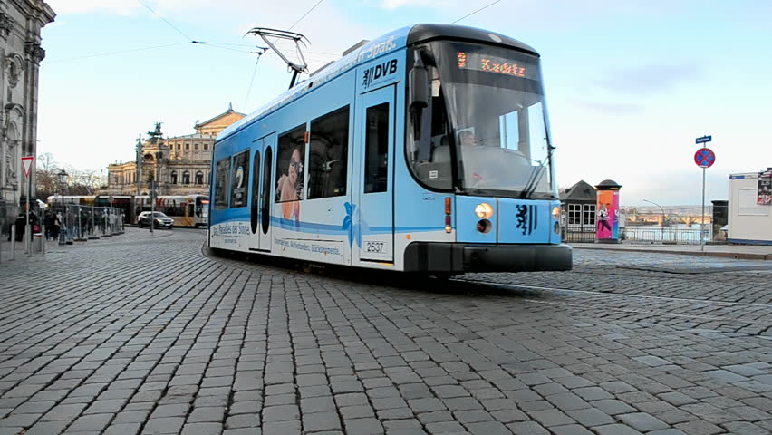 DRESDEN - DEC 29: Electric tram on December 29, 2013 in Dresden, Germany. Dresden tramway network (public transport system) opened in 1872, it operates since 1993 by Dresdner Verkehrsbetriebe (DVB).