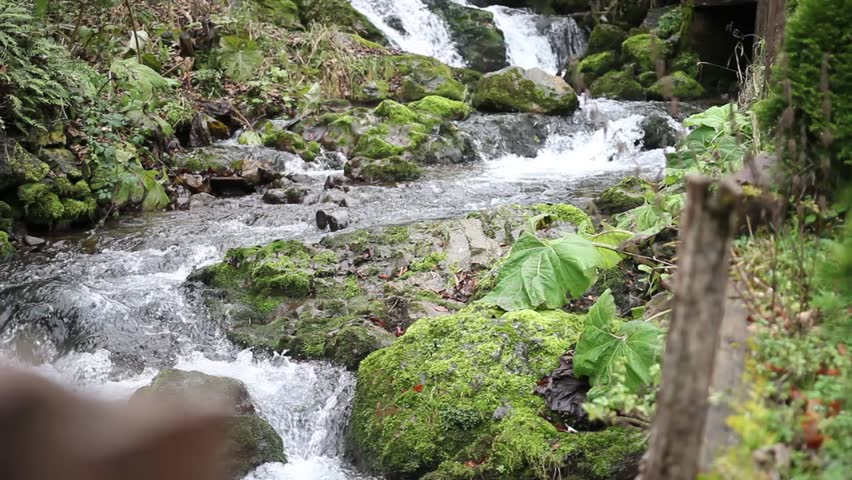 Footage of a peaceful scene with a waterfall/Living in solitude - HD stock video clip