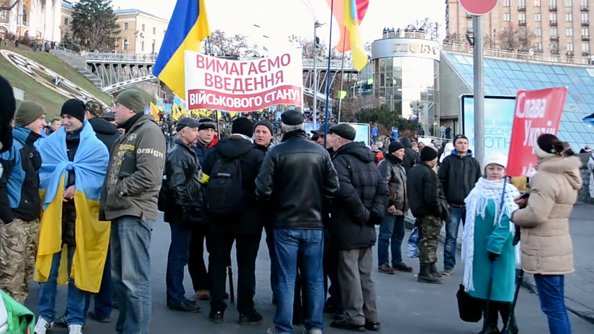 KIEV - NOV 21: Euro maidan anniversary on Kreshatik street in Kiev, Ukraine on November 21, 2014.