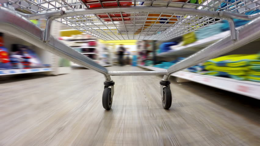 Crazy fast speed of supermarket trolley