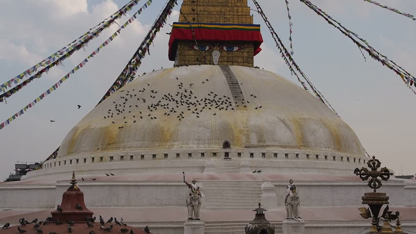 General view of the iconic Boudhanath Stupa in Kathmandu, Nepal. Boudhanath is the largest stupa in Nepal and the holiest Tibetan Buddhist temple outside Tibet. - HD stock video clip