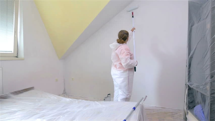 prepared paint white wall stock footage video 3044596 shutterstock. Black Bedroom Furniture Sets. Home Design Ideas