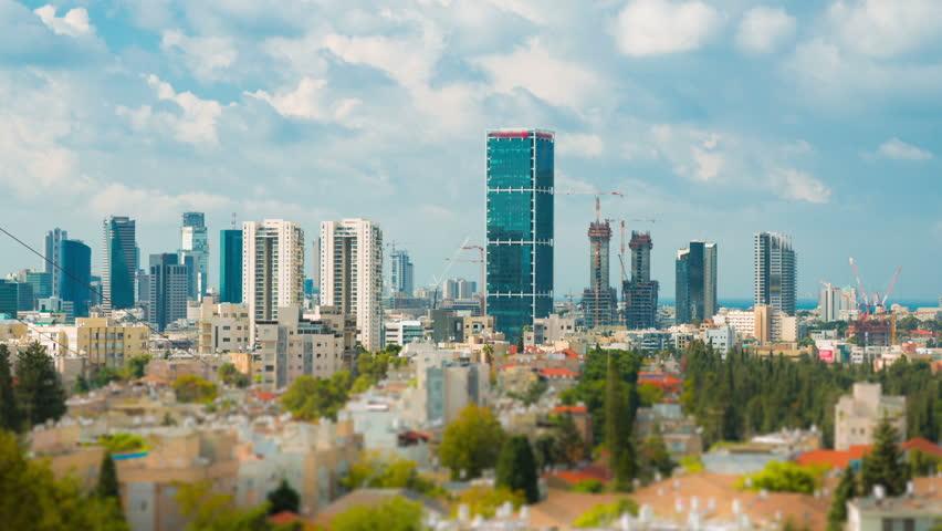 Tel Aviv Hd: Storm Cloud Over Skyscraper In Tel Aviv