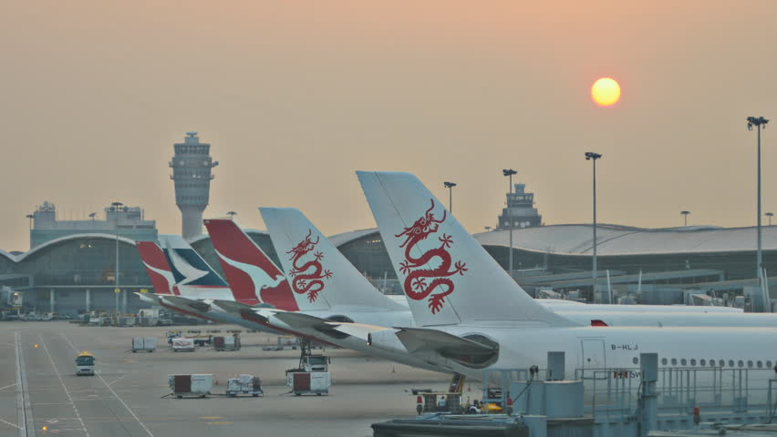 Hong Kong, China. October 2014. Sunset time lapse over Hong Kong airport. Hong Kong, China. October 2014.