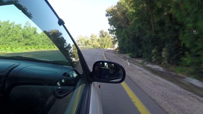 Beauty window shot of car driving. Car glass view shot.