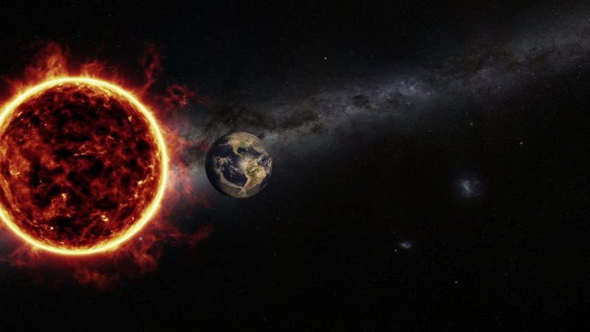 Abstract cosmic composition with active surface of the sun, close to a spinning realistic earth globe