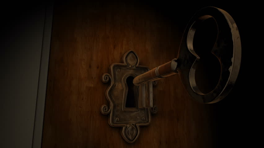 HD 1080p stock video. A close-up of a key moving towards the key hole.