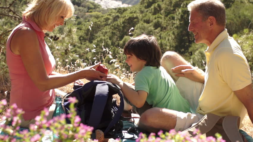 Lift Up Shot Of Grandparents And Grandson Enjoying Picnic In Countryside.
