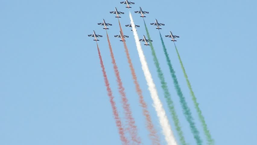 DUBAI, UAE - NOVEMBER 19: French Aerobatic Team demonstrating during Dubai Air Show at Airport Expo Dubai November 19, 2009 in Dubai, United Arab Emirates.