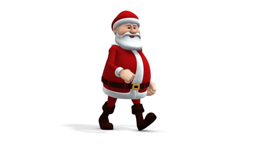 cartoon santa claus walking - loopable 3d animation - alpha mask and separate shadow pass included - HD stock video clip