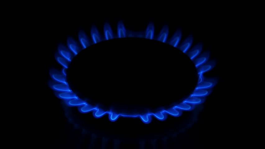 Close-up View of Natural Gas Burning from a Gas Stove in 4K. Ultra HD 3840x2160 Video Clip - 4K stock footage clip