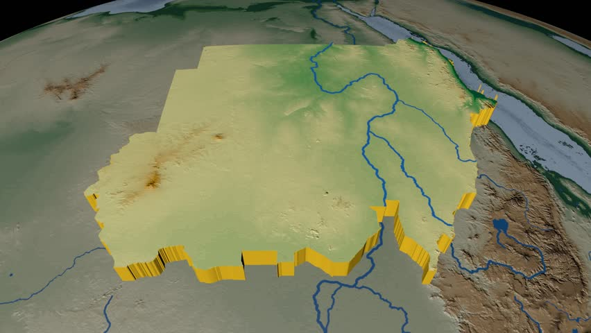 Sudan extruded on the world map. Rivers and lakes shapes added. Colored elevation and bathymetry data used. Elements of this image furnished by NASA.