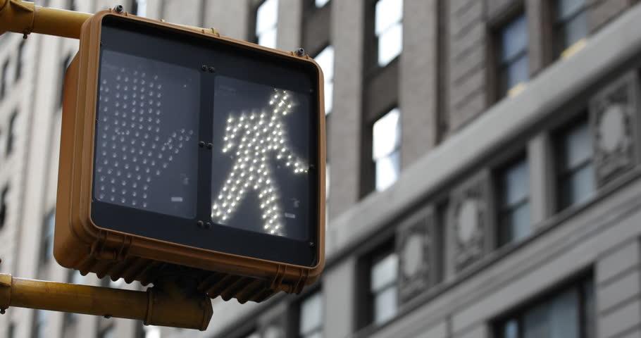 Keep Walking Cross New York City Traffic Sign Illuminated Building Background ( Ultra High Definition, UltraHD, Ultra HD, UHD, 4K, 2160P, 4096x2160 )