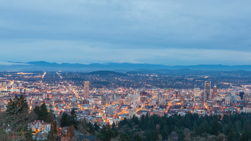 Time-lapse movie of Sunset into Blue Hour with Cloud Movement and Traffic Light Trails over Portland Cityscape in Oregon at Night 1920x1080 - HD stock video clip