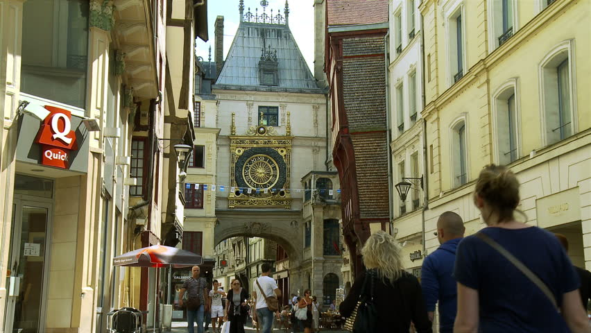 rouen france july 2013 looking towards the landmark called gros horloge or big clock in the. Black Bedroom Furniture Sets. Home Design Ideas
