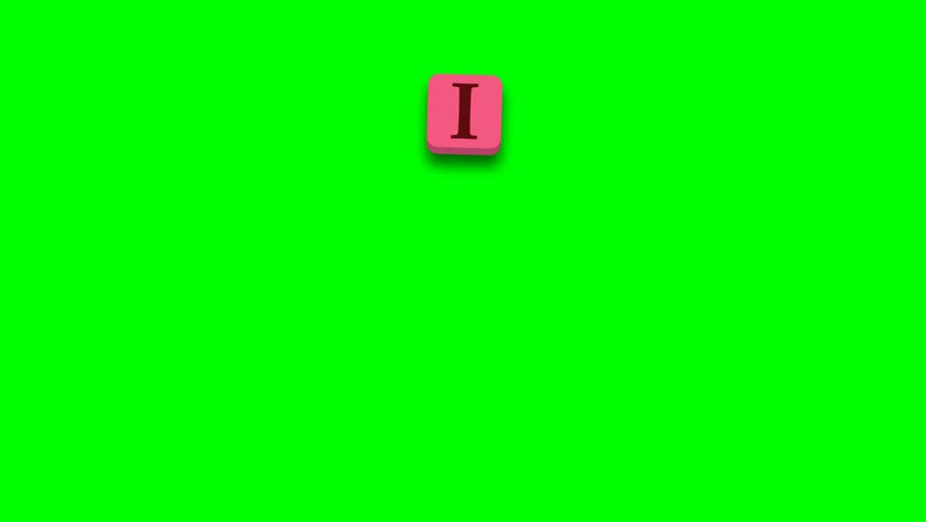 Valentine's Day greeting card phrase, saying. I like you with colorful blocks on green screen - 4K stock video clip