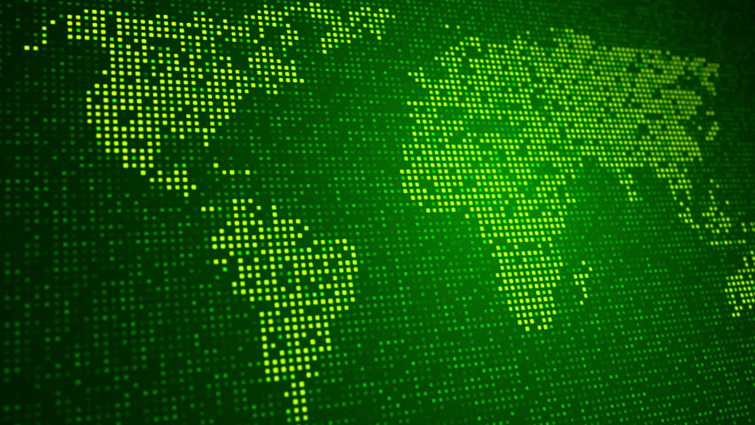 Digital Green World Map On Led Screen. Shine Led. Loop Animation. Stock Footage Video 7477894