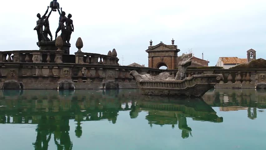Video clip showing detail of the Square Fountain in Villa Lante at Bagnaia, Viterbo province, Italy.
