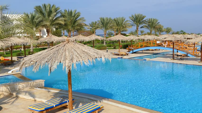 Hurghada Egypt Swimming Pool With Palm Trees In Hilton
