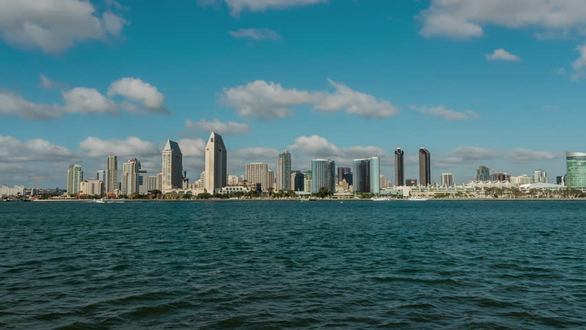San Diego Bay Timelapse With Sailboats California USA. Shot in RAW HDR.