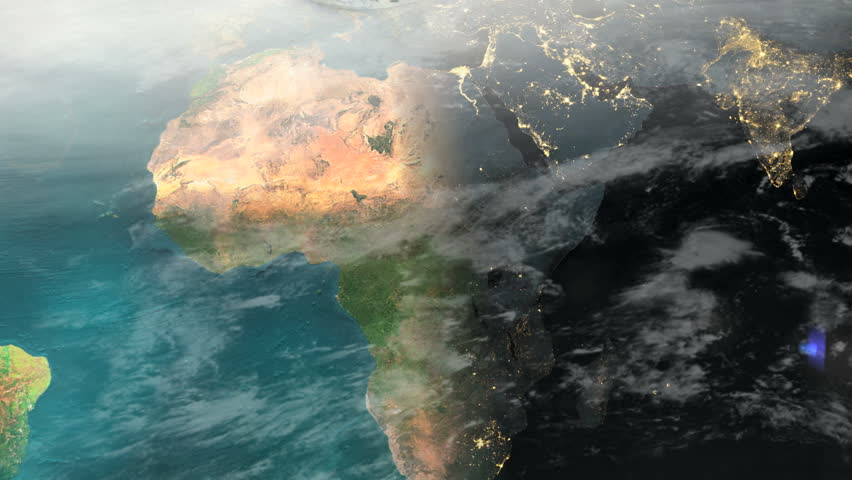 Africa Middle-East time-lapse day to night (1080p HD Earth Map Zoom)