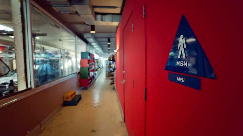 Triangle Car Wash: Men Toilets Sign. Part Of A Series. Stock Footage Video