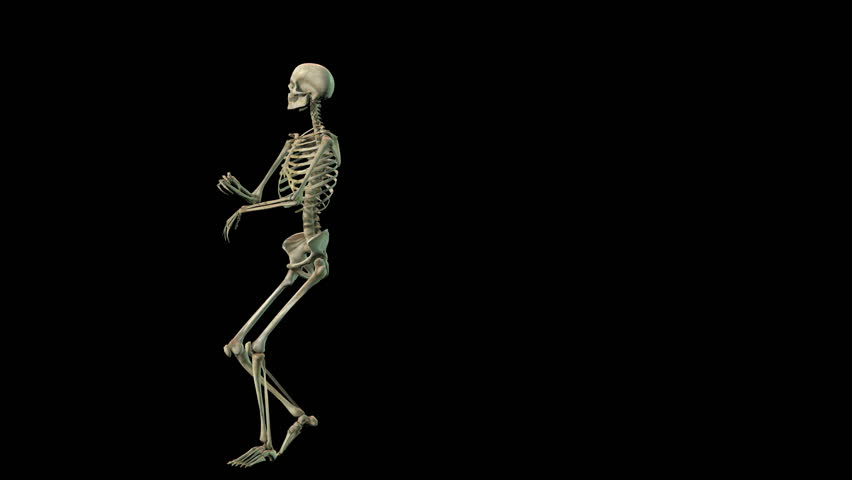 A very lively 3D skeleton doing a dance using motion capture.   - HD stock video clip