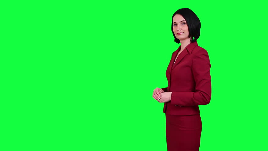 Business woman points somewhere chroma key