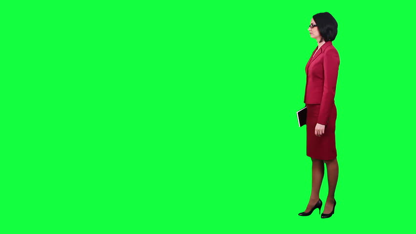 Business woman disagrees chroma key