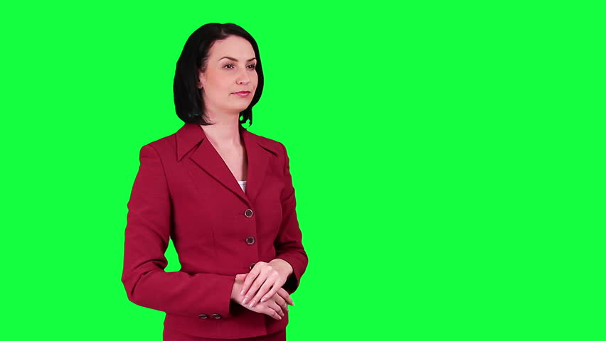 Business woman uses a virtual screen chroma key