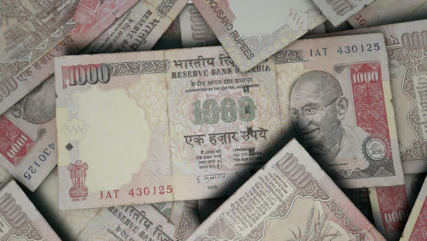 An Extreme Closeup Of Indian Rupee Banknotes Flipping