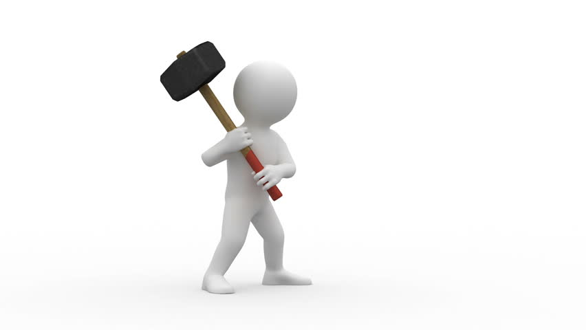 Abstract man working with big hammer. Isolated on white. Looped. Alpha channel include. - HD stock video clip