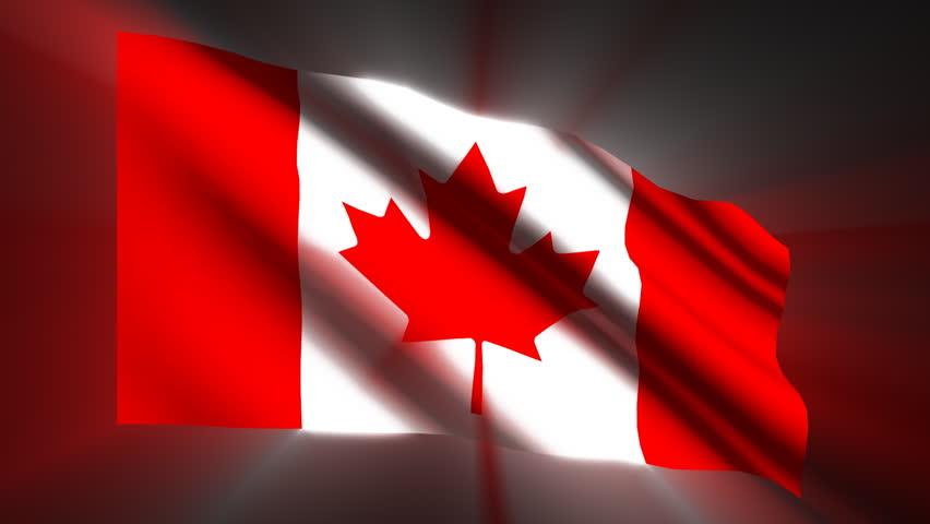 Canadian shining waving flag - loop