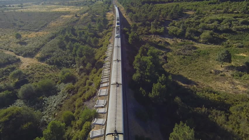 Train running over railway in the forest at sunset, aerial view