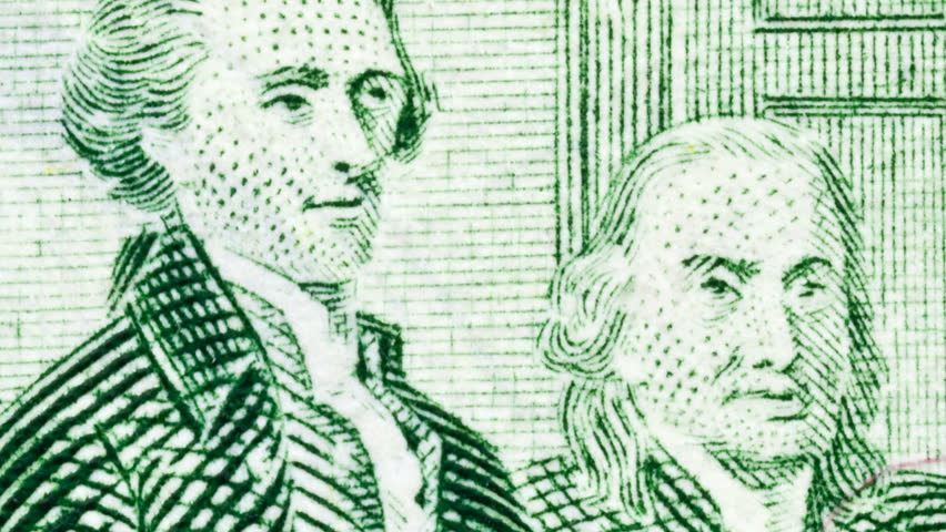 Extreme zooming marco of US two dollar bill's depiction of Thomas Jefferson and Benjamin Franklin presenting the Declaration of Independence to Congress.