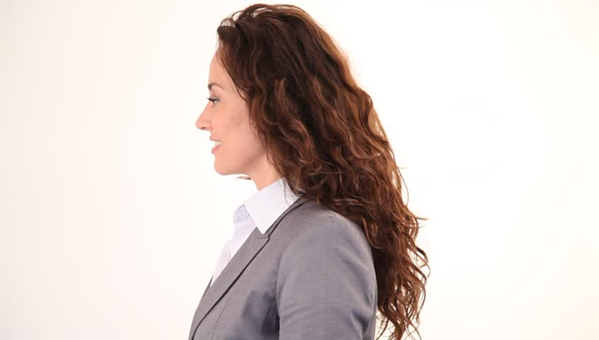 Businesswoman pointing at camera - HD stock video clip