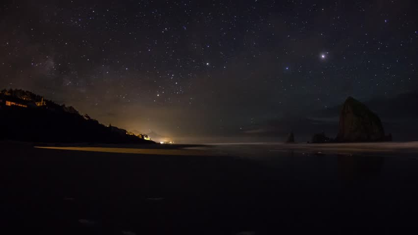 Time lapse of Milky way rising above Cannon Beach, Oregon.