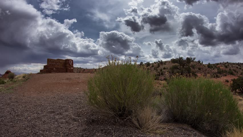 Time lapse cloudy afternoon at Capitol Reef National Park in Torrey, Utah