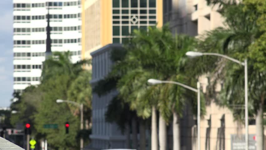 MIAMI, FLORIDA - JANUARY 20, 2015 - Traffic Crossing a Bridge - January 20 2015 Miami, Florida